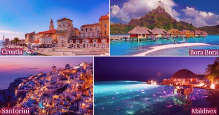 A collage of pictures of the romantic honeymoon destinations.